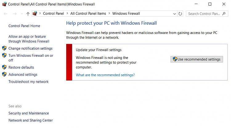 firewall will not turn on windows 10