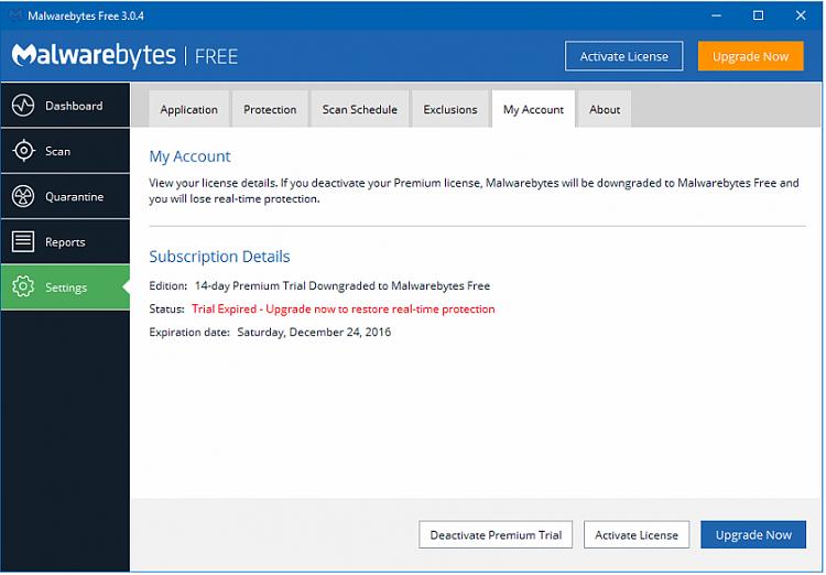 current version of malwarebytes