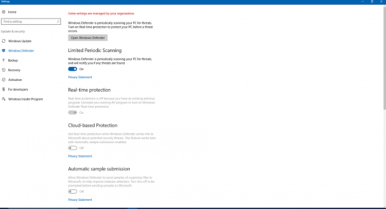 Windows Defender - Some Settings Are Managed by your Organization-prooftest.png