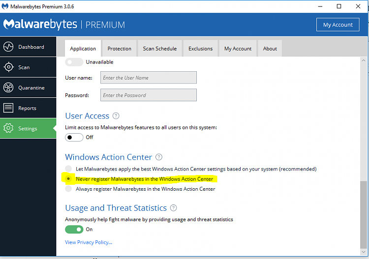 Windows Defender - Some Settings Are Managed by your Organization-never-register.png