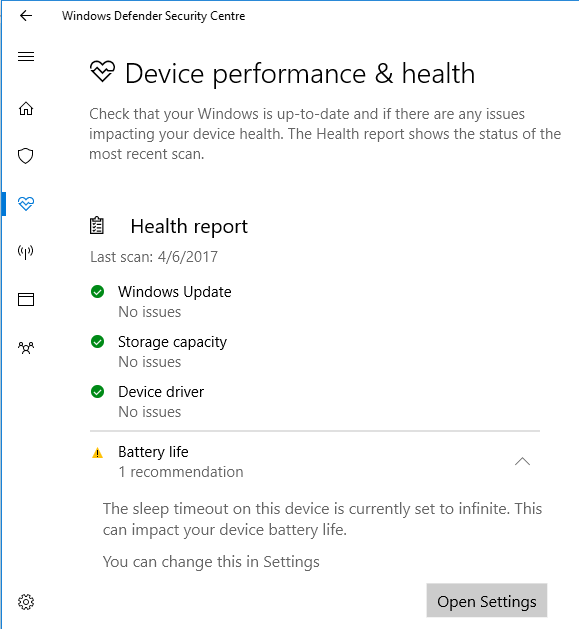 greyed out device performance and health option