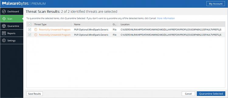 malwarebytes quarantine folder location windows 10