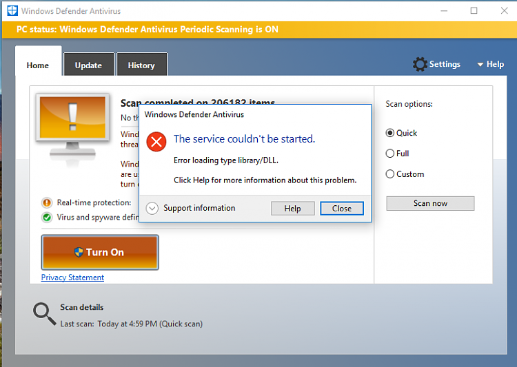 error loading type library dll windows defender