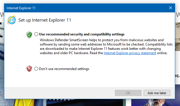 Recommended Security And Compatability Settings In Ie11 Windows 10 Forums