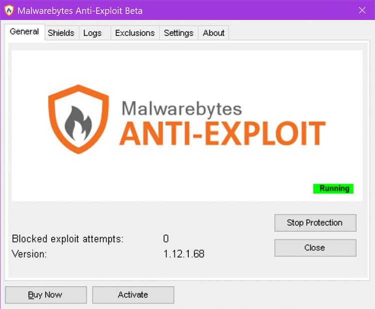 Latest Malwarebytes Update: Exploit Protection Off - Windows