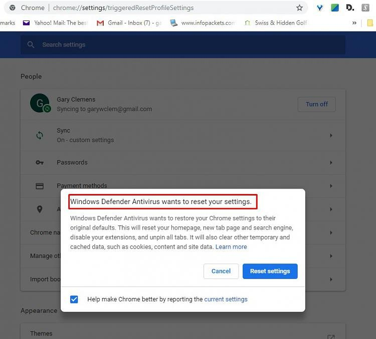 Windows Defender Wants to Reset Chrome Solved - Windows 10