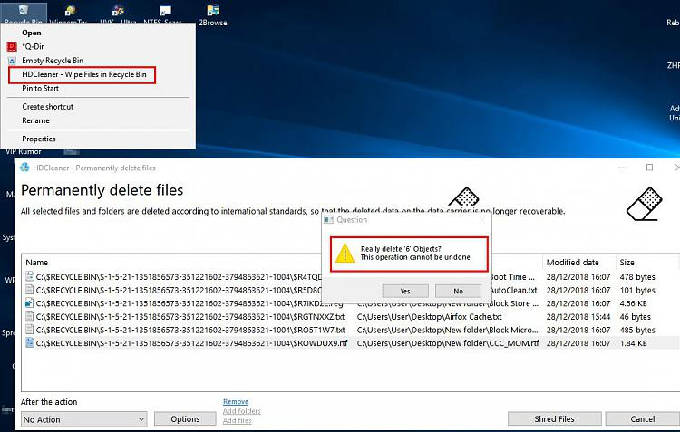 How to securely delete selected files in the Recycle bin     - Page