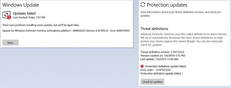 Win Defender KB4052623 (v4 18 1905 4) repeated install fail