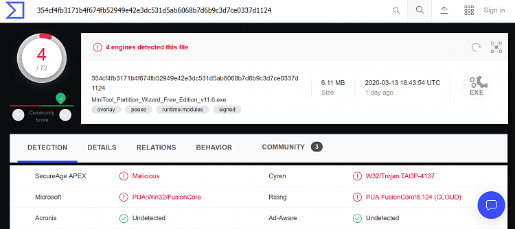 MiniTools Partition Wizard offical download now flagged as dangerous-2020-03-14_17h01_11.png