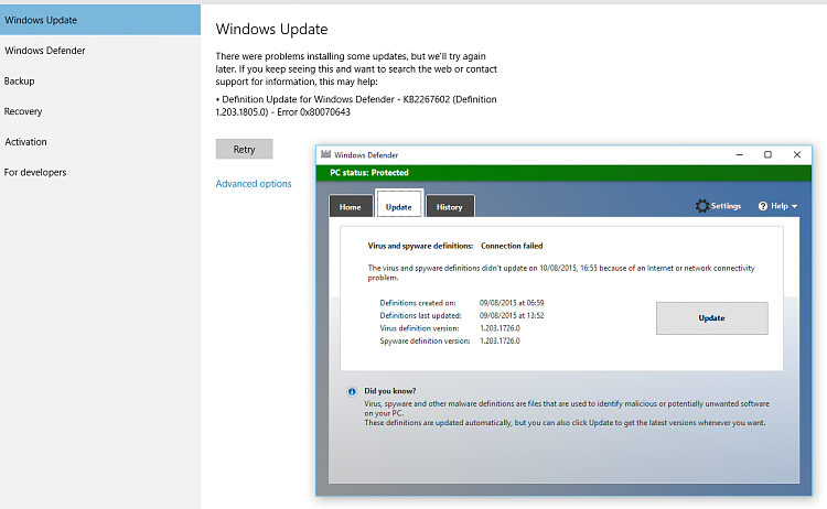 Update Fails Windows and Defender Solved - Windows 10 Forums