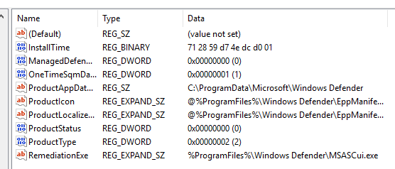 Click image for larger version.  Name:Registry Windows Defender 11-18-2015.PNG Views:19 Size:17.4 KB ID:49173