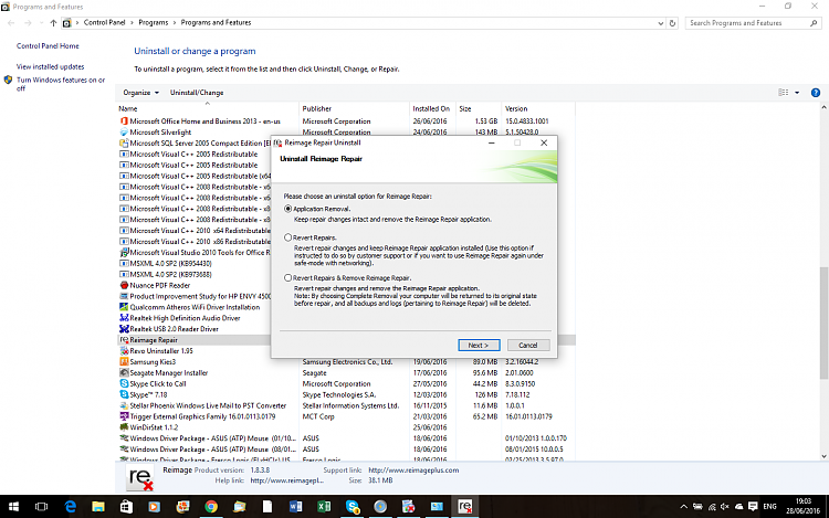 What extra software do I need with Windows 10-reimage-delete.png