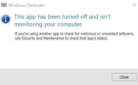 Click image for larger version.  Name:Windows Defender turned off popup.png Views:26 Size:11.0 KB ID:91910