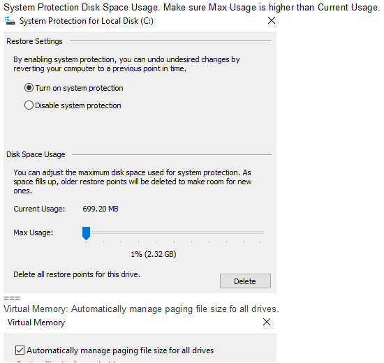 Click image for larger version.  Name:System Protection Disk Space usgae and Virtual Memory.PNG Views:46 Size:20.5 KB ID:100013