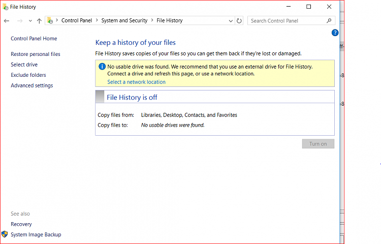 your file history drive was disconnected for too long windows 10