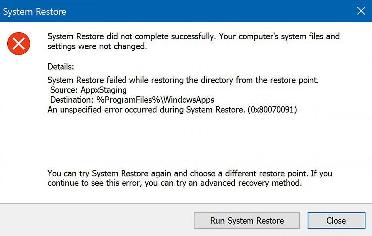 System Restore fails: AppxStaging %ProgramFiles%\WindowsApp