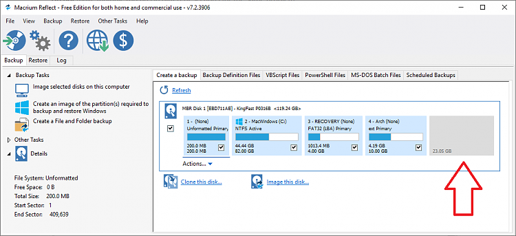 How can I image unallocated space? - Windows 10 Forums
