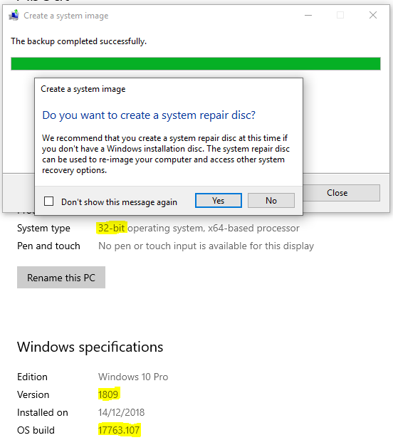 Win 10 Build 1809 did NOT solve the system image problem in