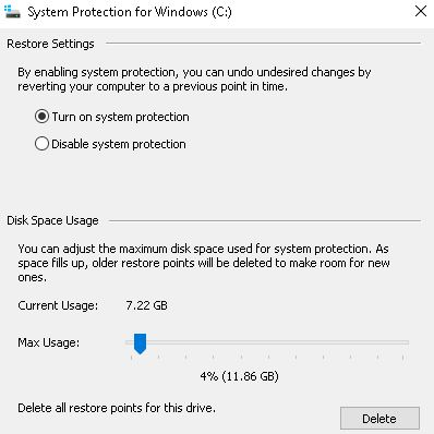 Click image for larger version.  Name:System Restore settings.JPG Views:62 Size:32.0 KB ID:223855