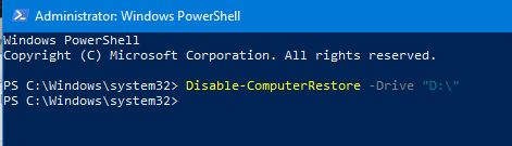 Restore Point Setup shows Local Disk (D:) as well as OS (C:) (System)-turn-off-system-protection-drives-powershell.jpg