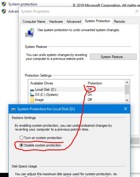 Restore Point Setup shows Local Disk (D:) as well as OS (C:) (System)-turn-off-system-protection-drive-d-2.jpg