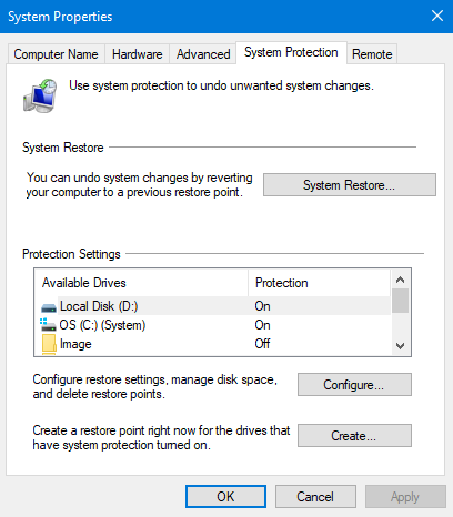 Restore Point Setup shows Local Disk (D:) as well as OS (C:) (System)-turn-off-system-protection-drive-d-3.png
