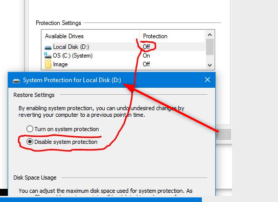 Restore Point Setup shows Local Disk (D:) as well as OS (C:) (System)-image.png