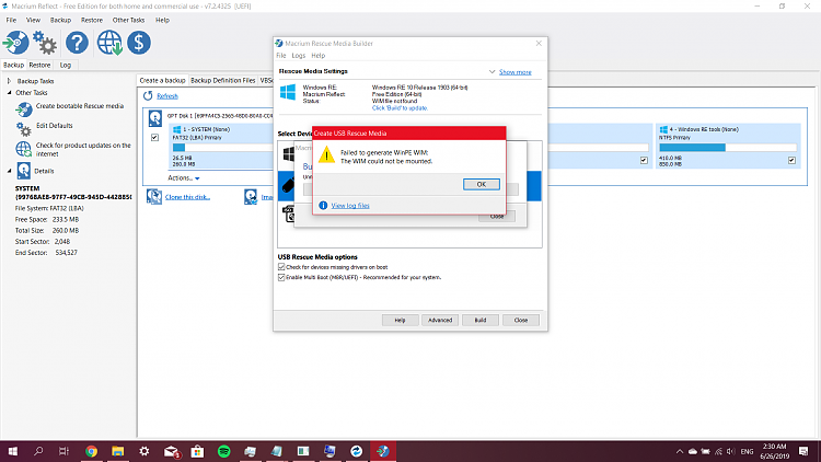 Unable to create Rescue Media - Windows 10 Forums