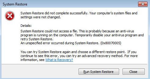 System Restore Fails Error 0x80070005 - Windows 10 Forums