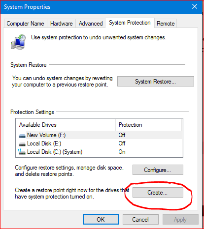 how to make reboot point on computer windows 10