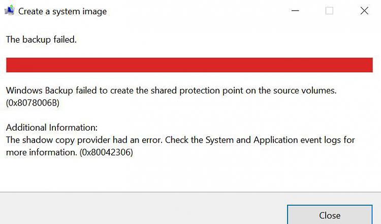 Image backup keeps failing Solved - Windows 10 Forums