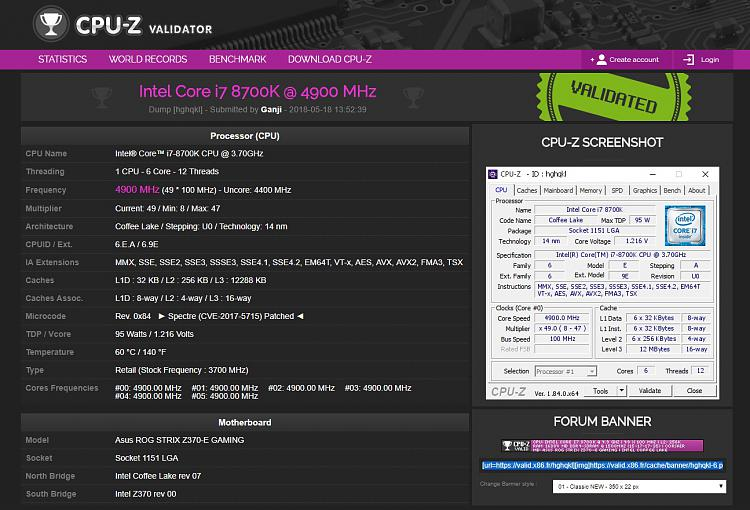 Click image for larger version.  Name:CpuZ Validation 4.9Ghz.jpg Views:10 Size:324.6 KB ID:189243