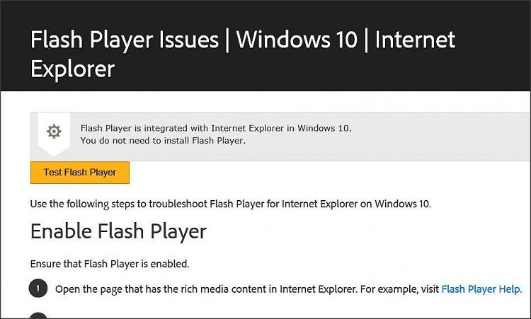Adobe Flash Player doesn't work in Internet Explorer