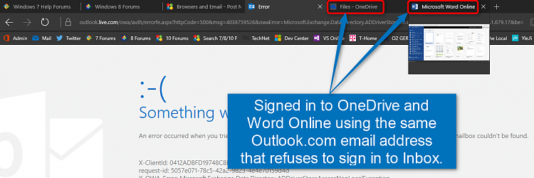 Unable to sign in to Outlook com on one account (server not