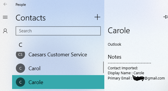 How do you import contacts into Windows 10 Mail from