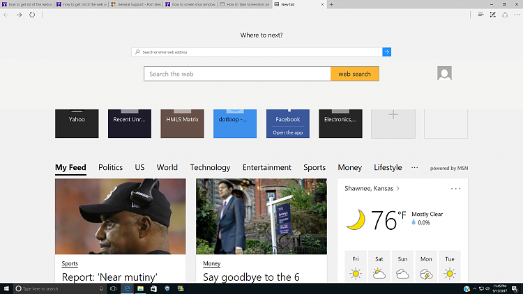 "Windows 10 Edge ""Web Search Bar"" Is New And I Want To"