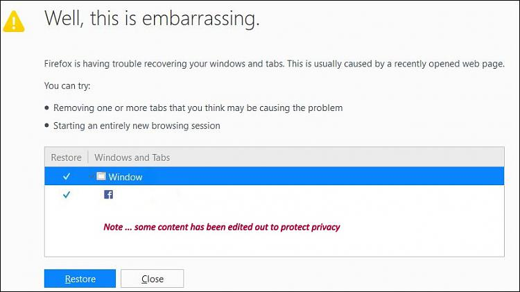 Click image for larger version.  Name:Annoying Restore Session webpage.JPG Views:2 Size:74.4 KB ID:158820