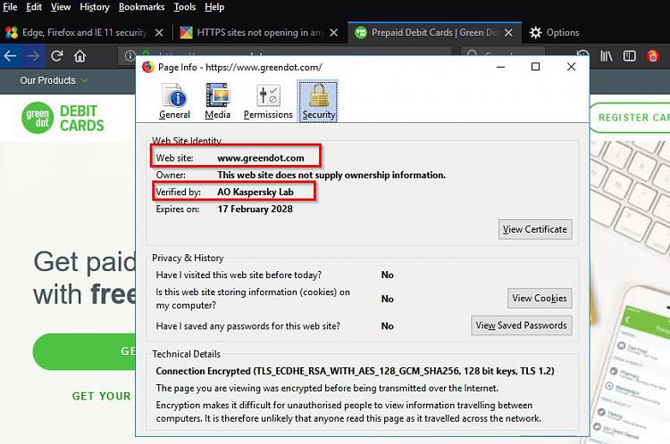 Edge, Firefox and IE 11 security question TLS Solved ...
