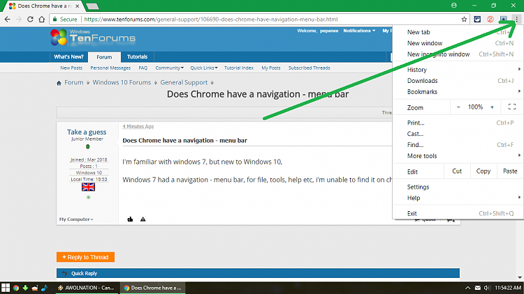 how to add menu bar in chrome