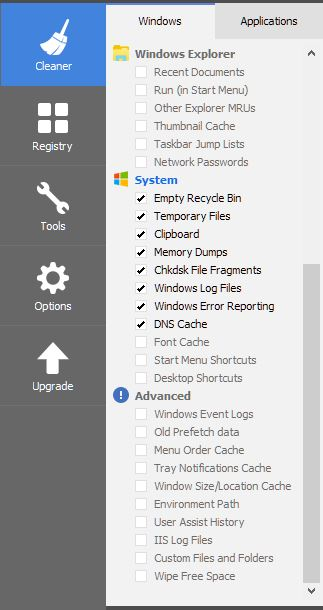 Click image for larger version.  Name:CCleaner system settings.JPG Views:17 Size:38.5 KB ID:182426