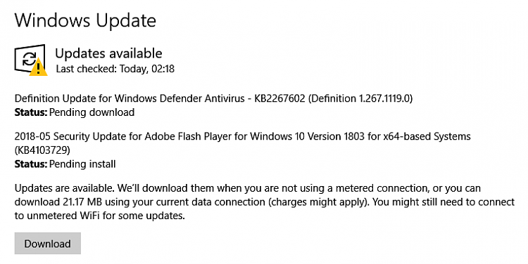 Latest Version of Adobe Flash Player-windows-update-1803.png