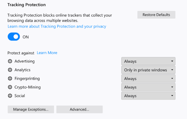 Latest Firefox Released for Windows-tp-settings.png