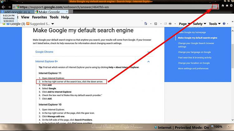 Make Google Default Search In IE??