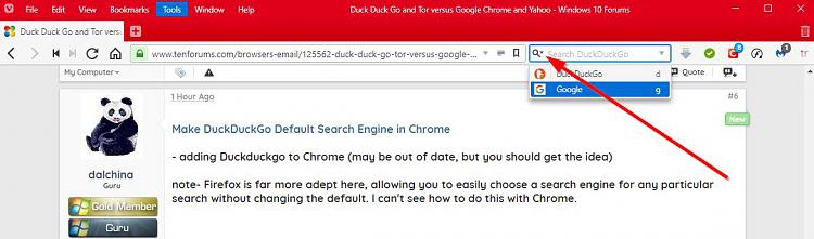 Duck Duck Go and Tor versus Google Chrome and Yahoo
