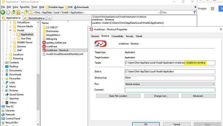 Vivaldi Crashing-vivaldi.exe-shortcut-properties.jpg