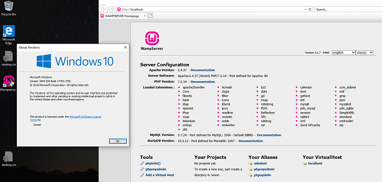 Click image for larger version.  Name:WAMPserver running.PNG Views:4 Size:206.7 KB ID:227188