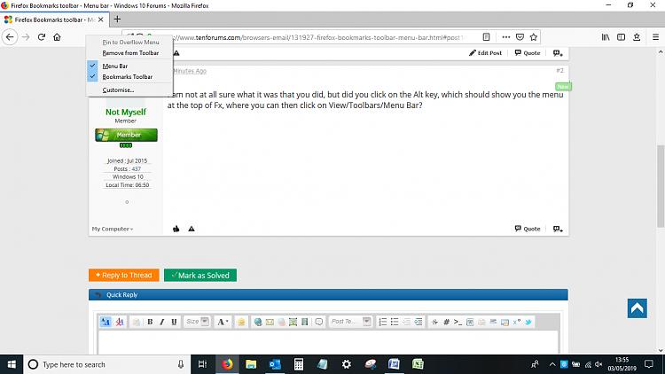 Firefox Bookmarks toolbar - Menu bar Solved - Windows 10 Forums