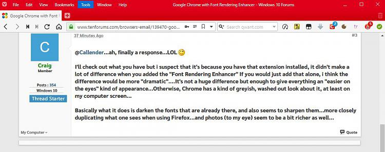 Google Chrome with Font Rendering Enhancer - Windows 10 Forums