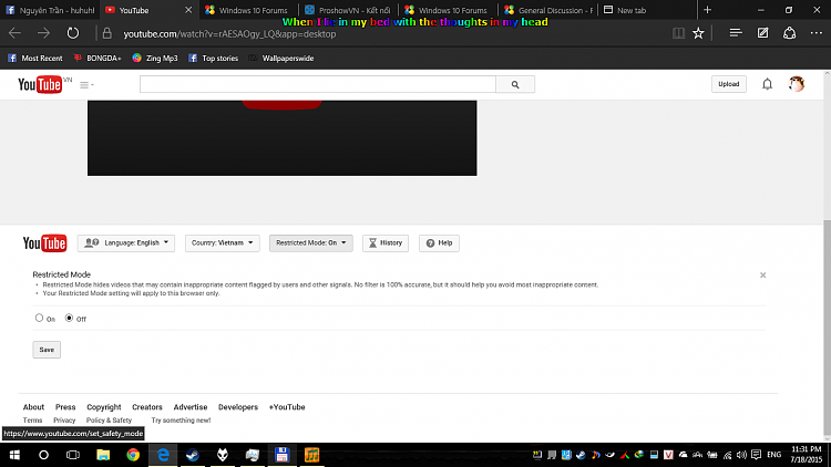 Can disable Restricted Mode (Youtube) ? - Windows 10 Forums