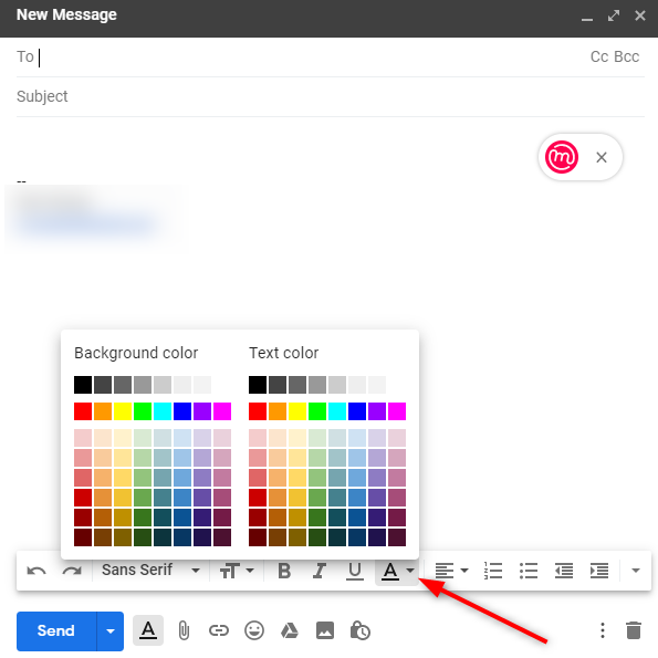 How can I enter brightly colored text in the subjeclt line of my email-image.png